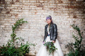 Peacock barns - alternative unconventional wedding photoshoot - rustic decadent - alt bride - barn - leather jacket