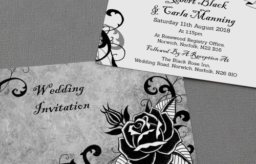 Made By Rae designs - black rose - wedding stationery - alternative & unconventional wedding stationery