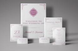fine stationery by ampersans logo - wedding stationery - purple - cream
