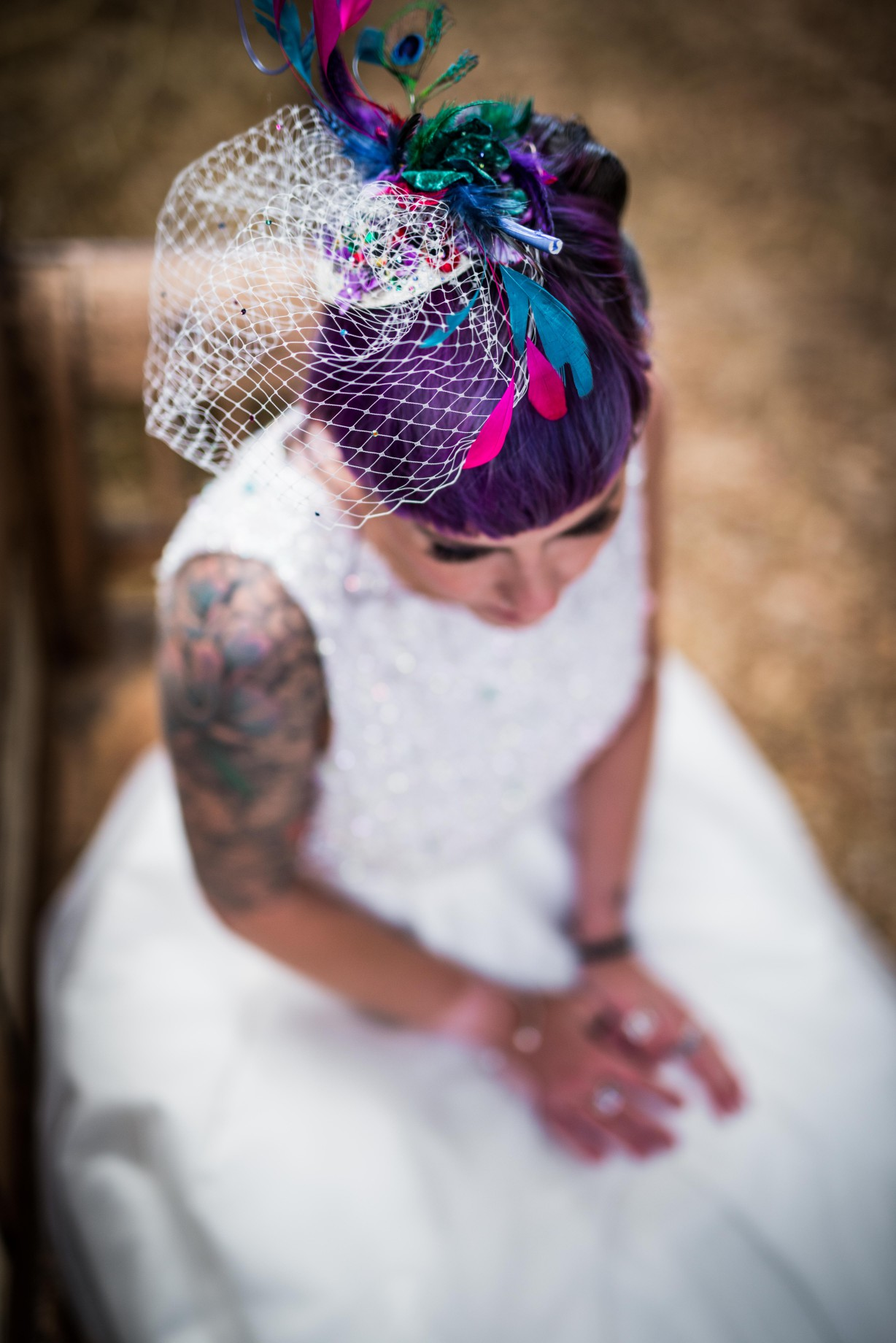 Peacock barns - alternative unconventional wedding photoshoot - rustic decadent - bride tattoo - bridal hair
