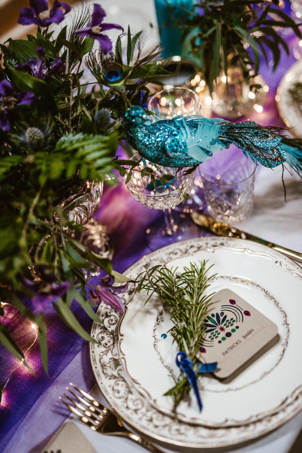 Peacock barns - alternative unconventional wedding photoshoot - rustic decadent - peacock inspired table place setting