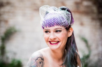 Peacock barns - alternative unconventional wedding photoshoot - rustic decadent - bride purple hair