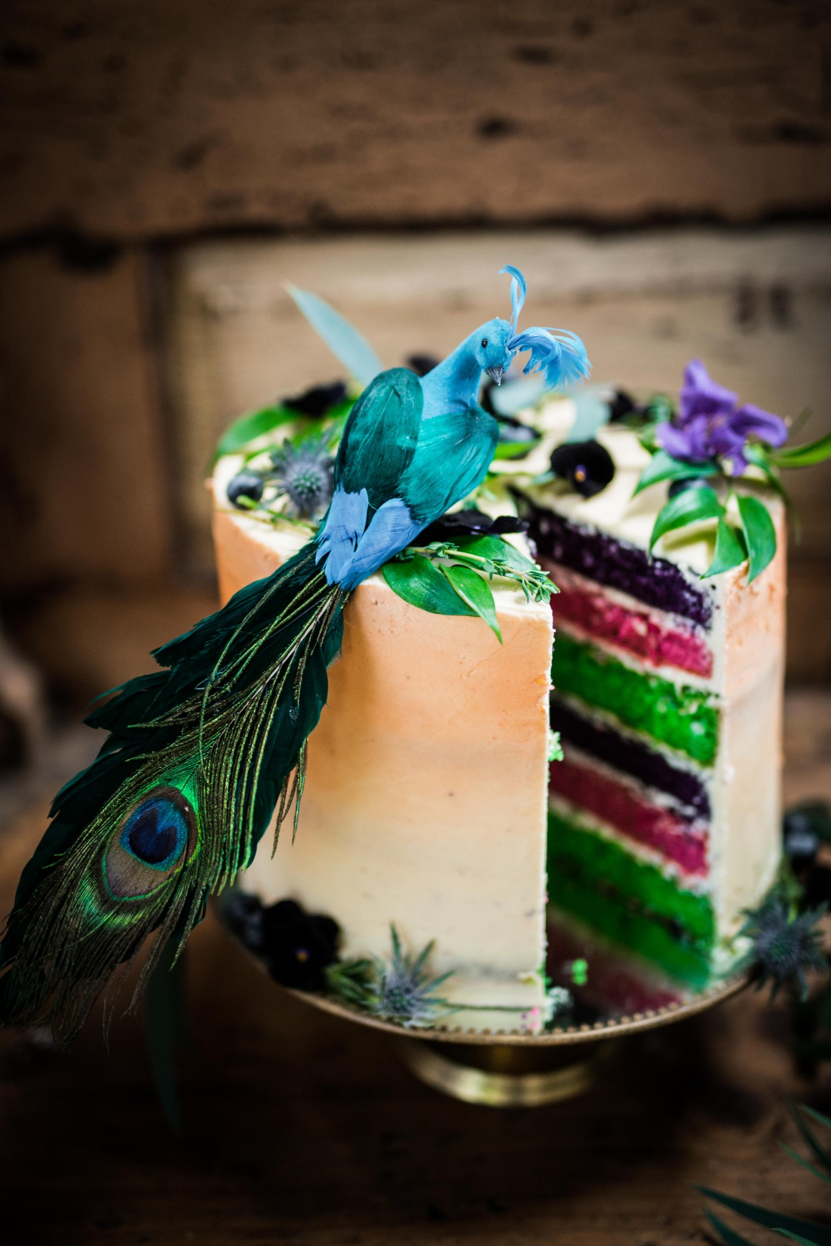 Peacock barns - alternative unconventional wedding photoshoot - rustic decadent - peacock rainbow cake