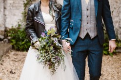 Peacock barns - alternative unconventional wedding photoshoot - rustic decadent - bridal leather jacket - barn