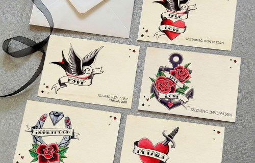 Made By Rae designs - Vintage tattoo wedding stationery - alternative & unconventional wedding stationery