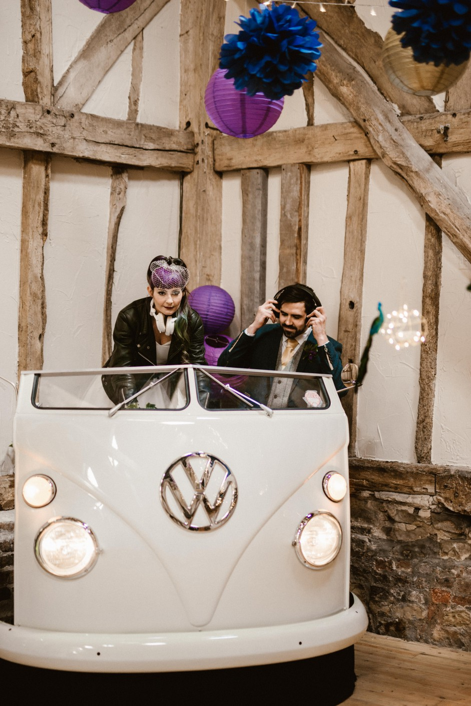 Peacock barns - alternative unconventional wedding photoshoot - rustic decadent - VW DJ booth - wedding DJ