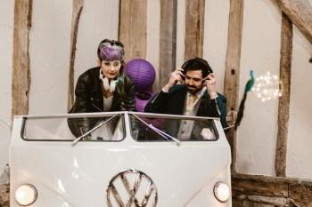 Peacock barns - alternative unconventional wedding photoshoot - rustic decadent - VW DJ booth - wedding DJ