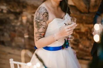 Peacock barns - alternative unconventional wedding photoshoot - rustic decadent - tattooed bride