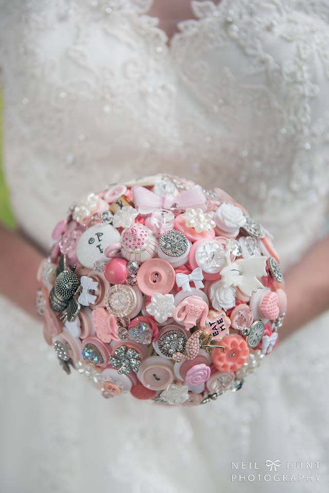 Alice in Wonderland wedding inspiration - button bouquet 1 - alternative and unconventional wedding