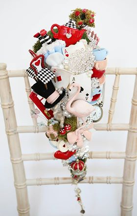 Alice in Wonderland wedding inspiration - custom bouquet jewelled - alternative and unconventional wedding