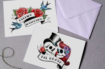 Rae Henry Designs - Wedding Stationery Invitations - Rockabilly Skulls - Black Red - alternative & unconventional wedding stationery