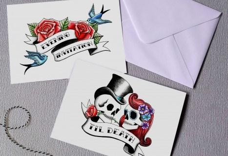 Rae Henry Designs - Wedding Stationery Invitations - Rockabilly Skulls - Black Red