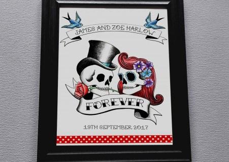 Rae Henry Designs - Wedding Stationery - Rockabilly Skulls - Black Red