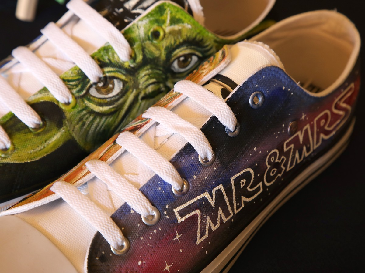 Star Wars wedding inspiration - by Pink Photographics - alternative wedding ideas - hand painted mr and mrs trainers from shoodle shoes