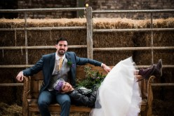 Peacock barns - alternative unconventional wedding photoshoot - rustic decadent - couple bench shot