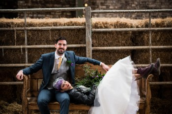 Peacock barns - alternative unconventional wedding photoshoot - rustic decadent - couple bench shot