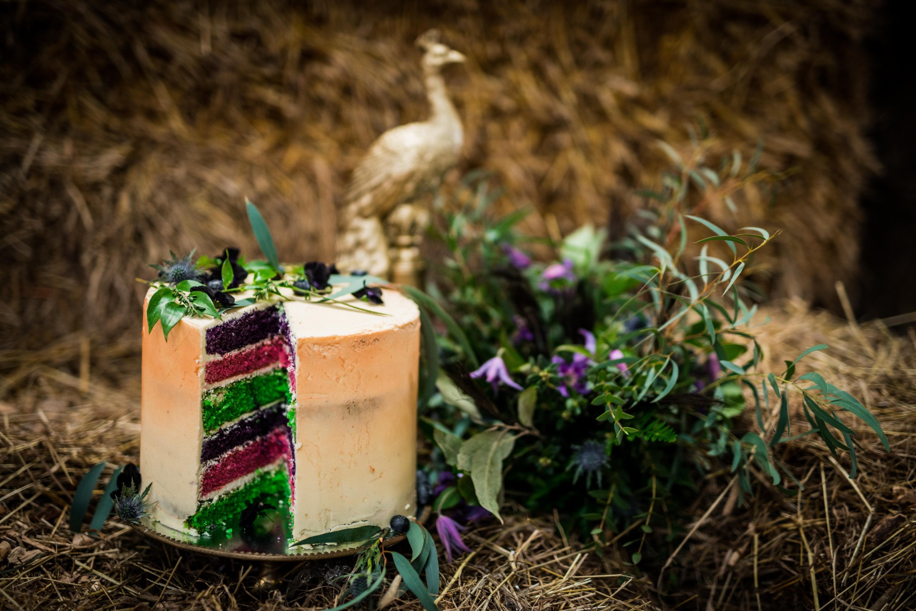 Peacock barns - alternative unconventional wedding photoshoot - rustic decadent - rainbow cake - gold