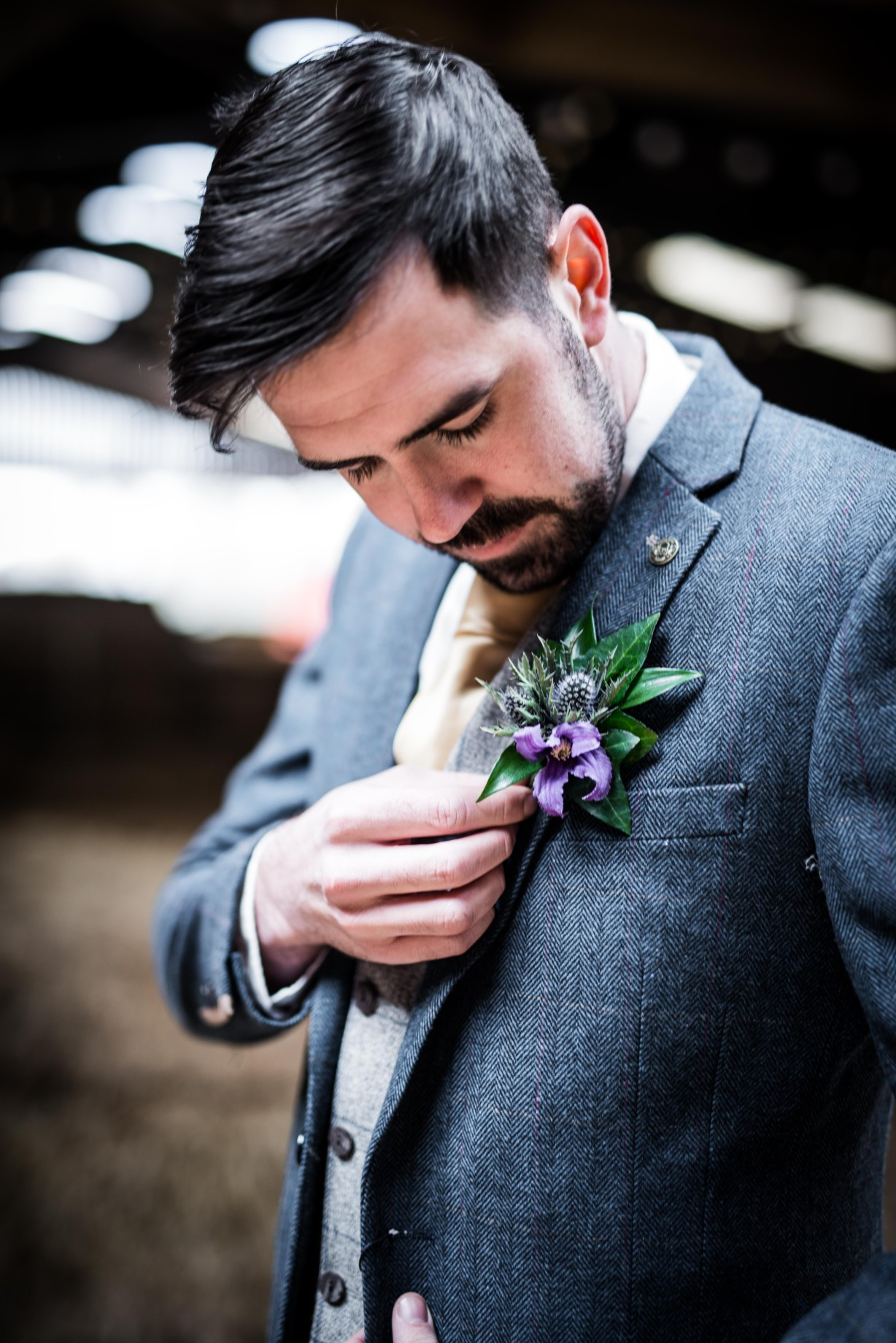 Peacock barns - alternative unconventional wedding photoshoot - rustic decadent - groom button hole