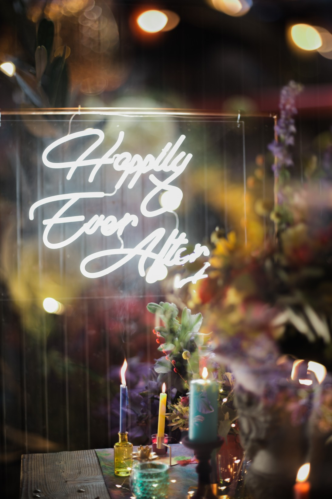 Becky Payne Photographer - Rainbow Unicorn Styled Wedding Shoot - Happily ever after - neon sign