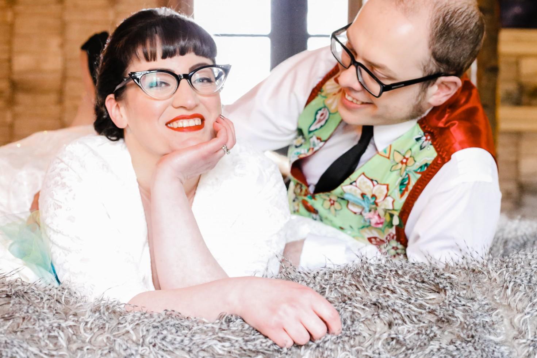 Becky Payne Photographer - Rainbow Unicorn Styled Wedding Shoot - Couple on bed