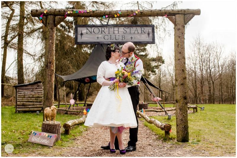 Jemma Mickleborough Photographer - Rainbow Unicorn Wedding - Northstar Club - Bride and Groom kiss