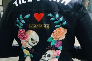 ophelia rose hand painted - bridal leather jackets til death do us part skull and flowers design with heart 2