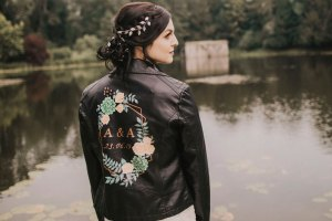 ophelia rose hand painted - bridal leather jackets with bespoke designs