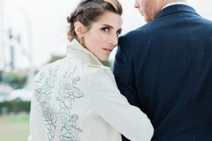 ophelia rose hand painted - white leather jacket with silhouette flowers