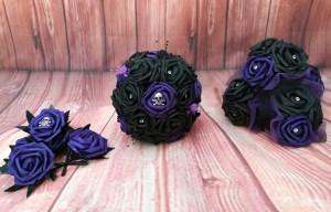 Charlene wedding designs - alternative wedding bouquet, accessories and buttonholes 1  - purple black