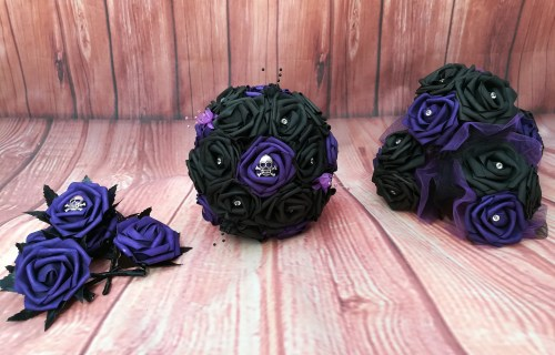 Charlene wedding designs - alternative wedding bouquet, accessories and buttonholes 1  - purple black