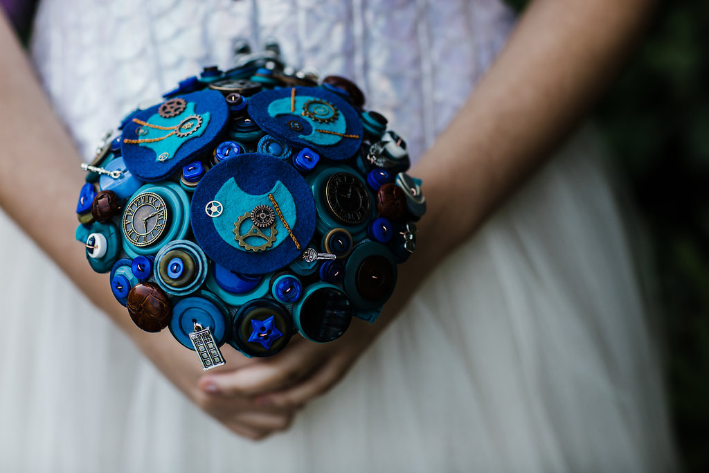 Charlotte Laurie Designs - Doctor Who wedding - alternative bouquet - felt button blue