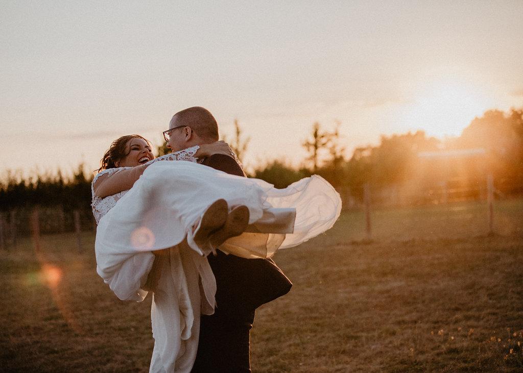 EmilyandGeoff- Nick Shea Photography- Circus Wedding couple sunset