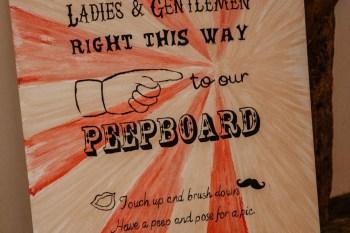 EmilyandGeoff- Nicki Shea Photography-Circus Wedding- vintage sign peepboard