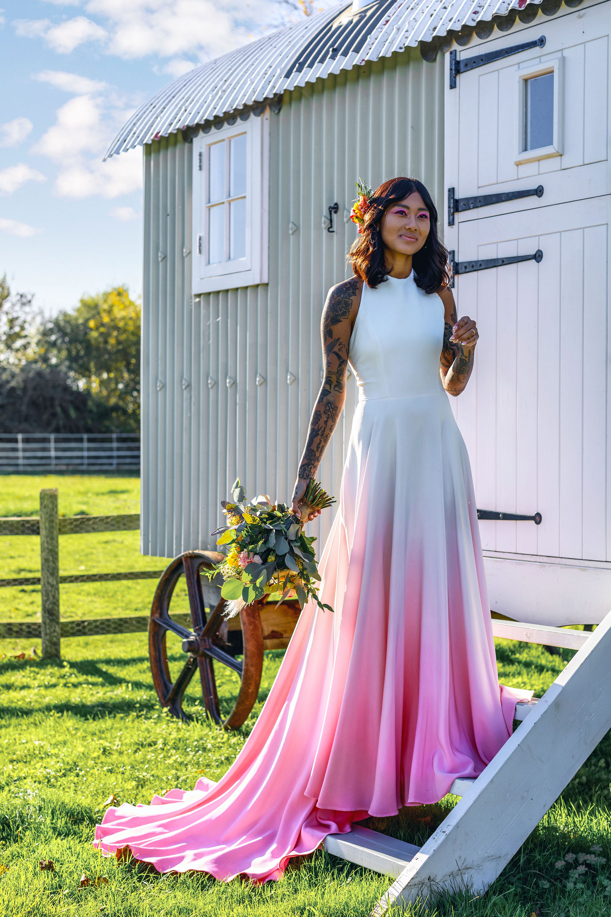 Favourite Lucy Can't Dance unique alternative wedding dress blog - peaches new bridalwear range 1 - pink ombre wedding dress
