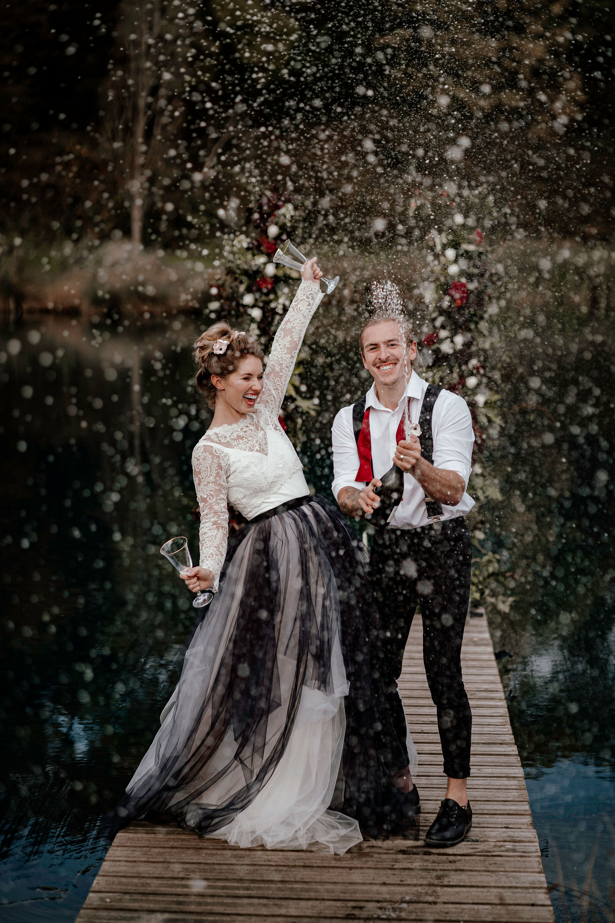 Ryley and Flynn - alternative wedding dress - black and white wedding dress