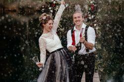 Ryley and Flynn - alternative wedding dress - black and white wedding dress