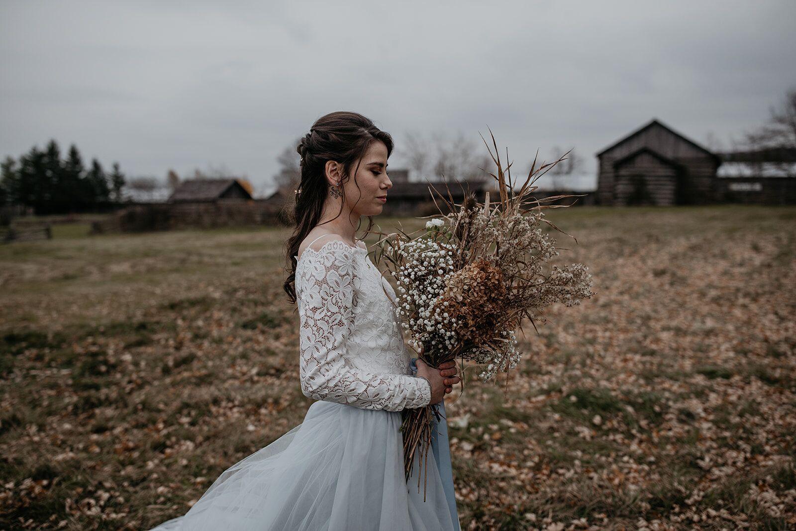 rustic winter wedding- wild honey weddings- boquet