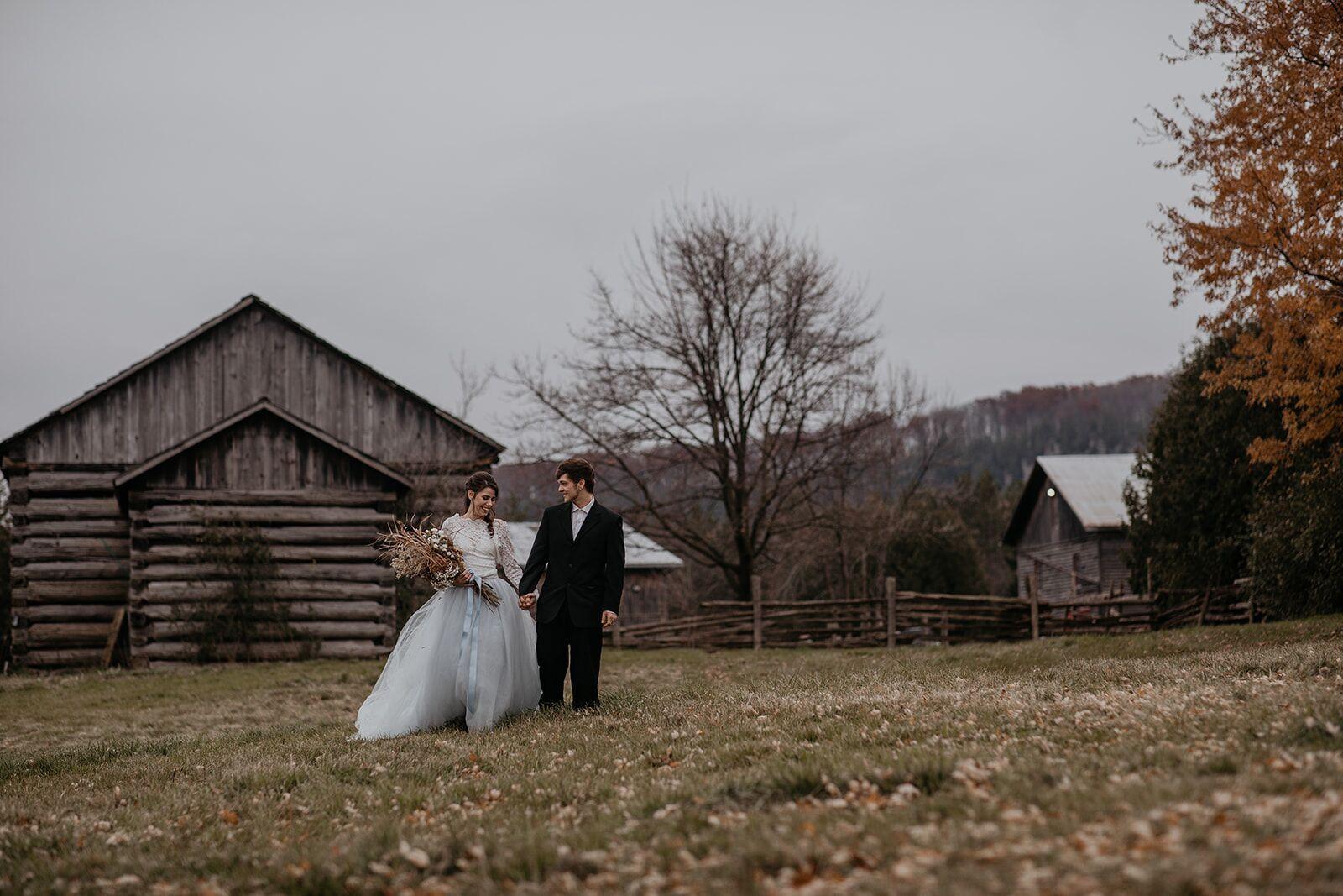 rustic winter wedding- wild honey weddings- walking