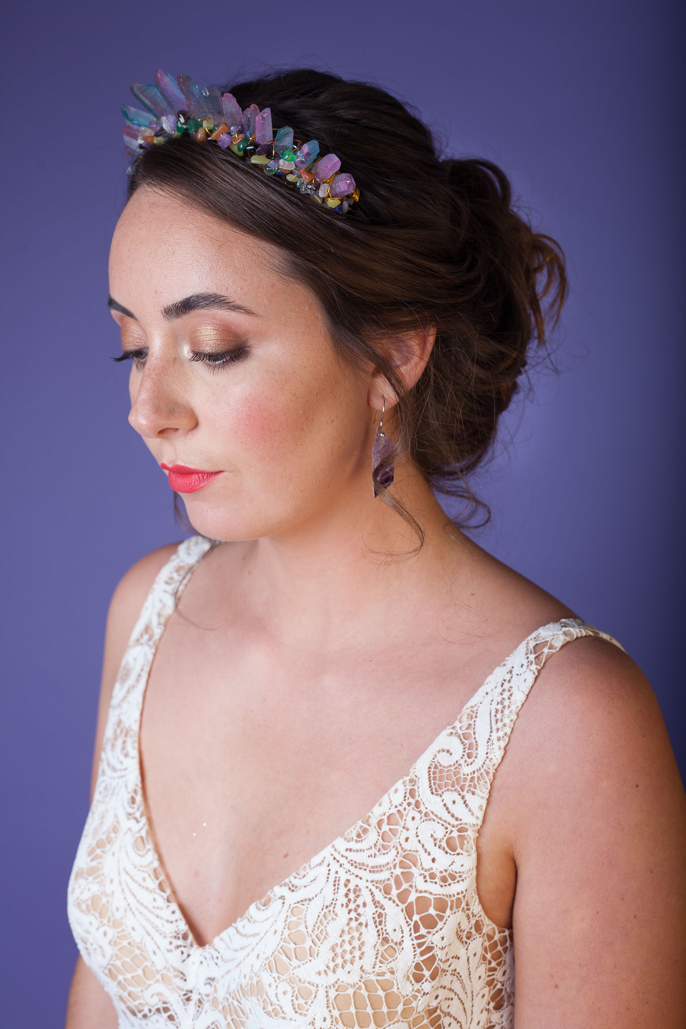 Abundance crystals- colourful wedding- headband