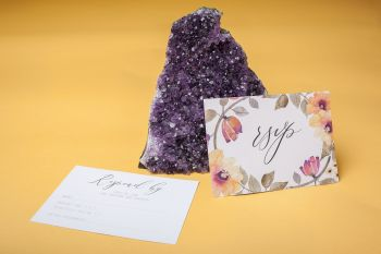 Abundance crystals- colourful wedding- stationery