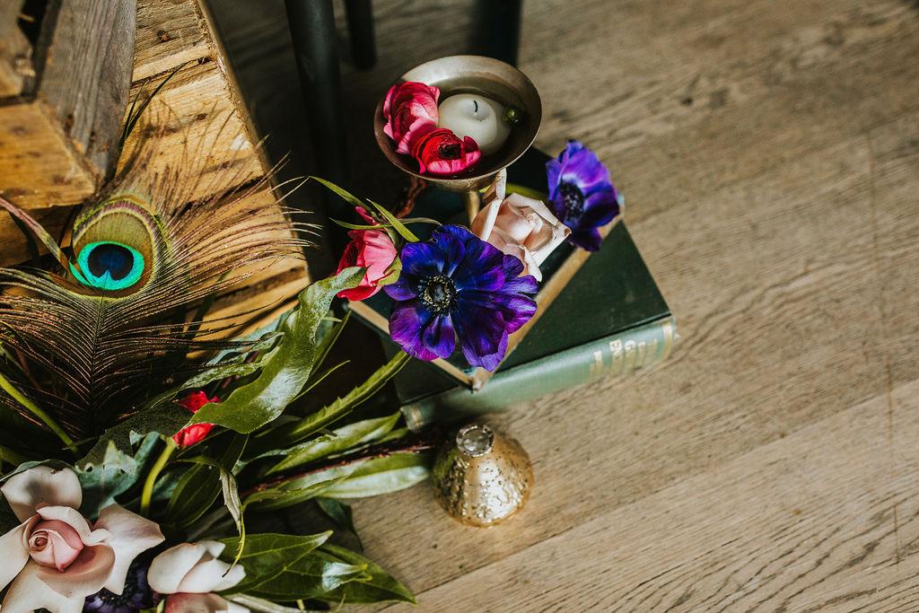 Olive Owl- Wedding Flowers-Peacock