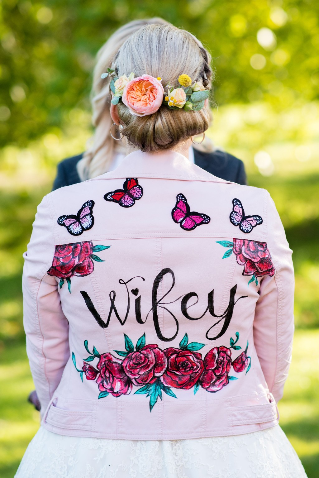 Chantelle Goble Photography - Rainbow wedding -painted bridal jacket - alternative wedding 19
