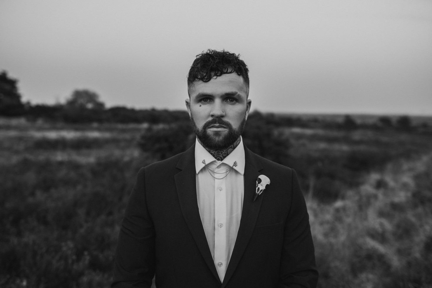 Finn And The Fox Photography-Moody Elopement Wedding- Alternative wedding - Alternative buttonhole - Groomswear inspiration