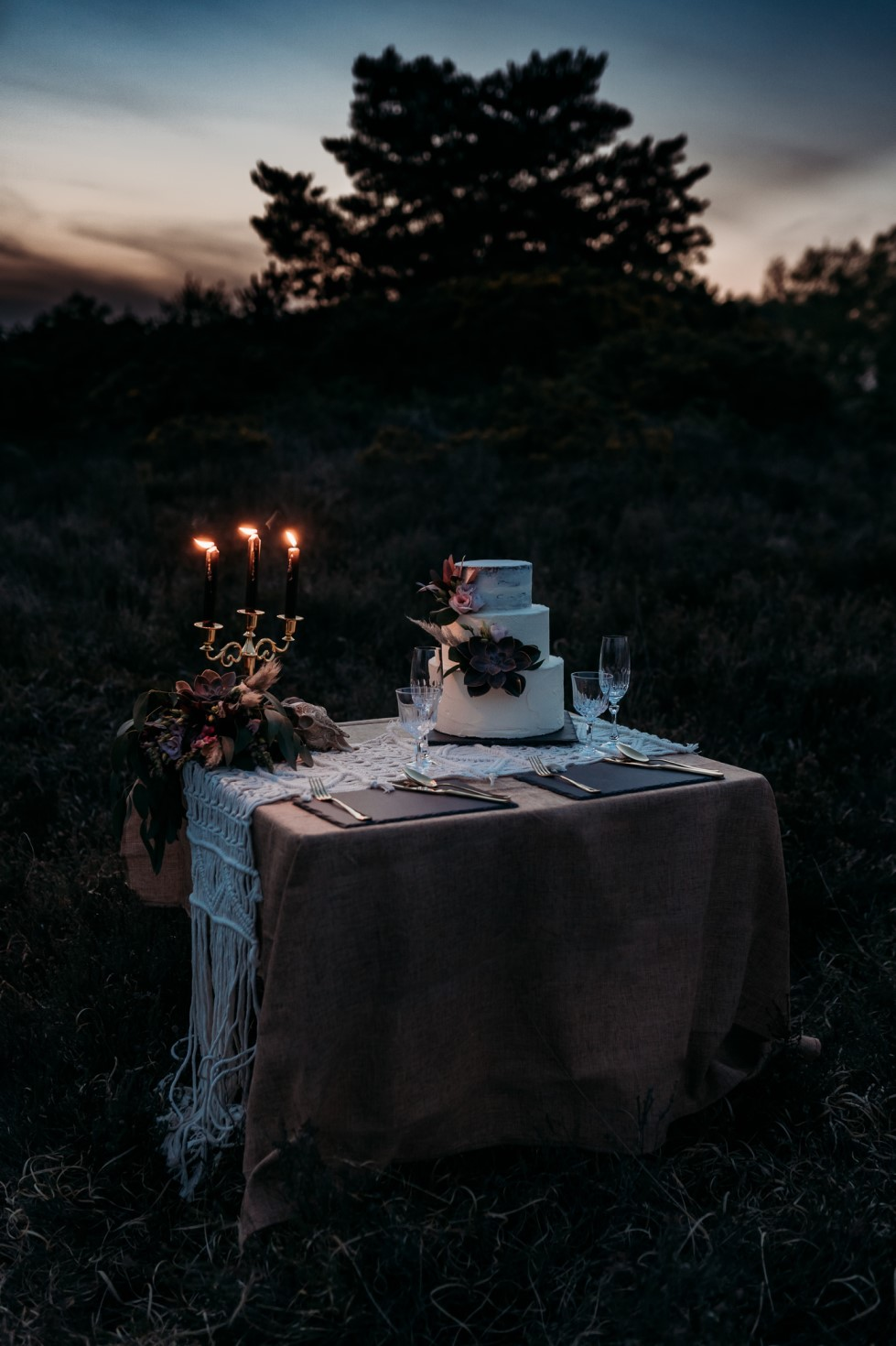 Finn And The Fox Photography-Moody Elopement Wedding- alternative wedding breakfast - alternative cake table - alternative wedding cake