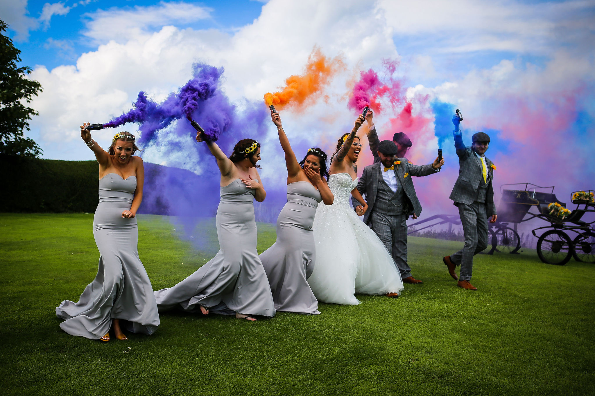 Harriet&Rhys Wedding - Magical sunflower wedding - quirky and alternative wedding with smokebombs
