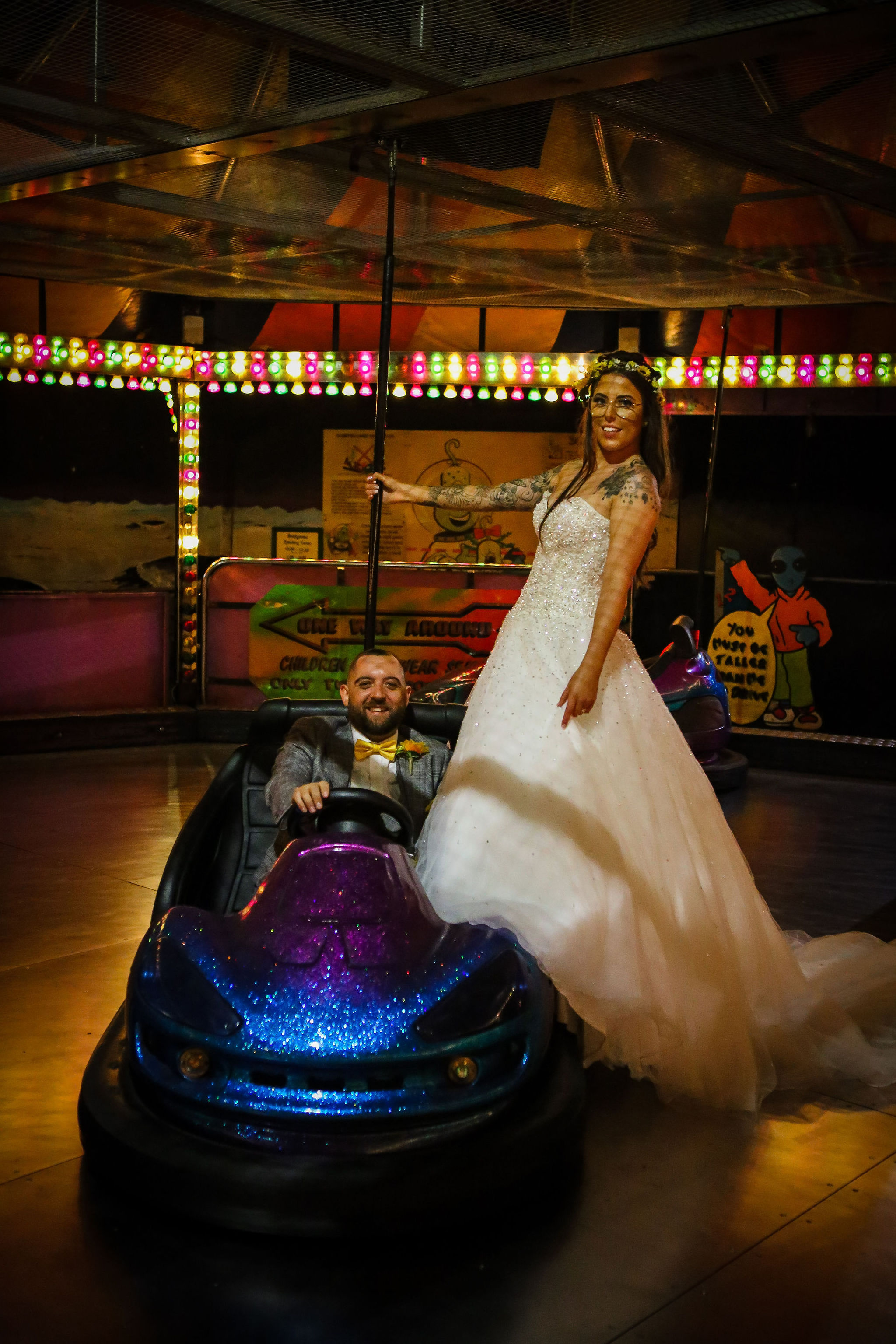 Harriet&Rhys Wedding - quirky wedding with dodgems - funfair at a wedding