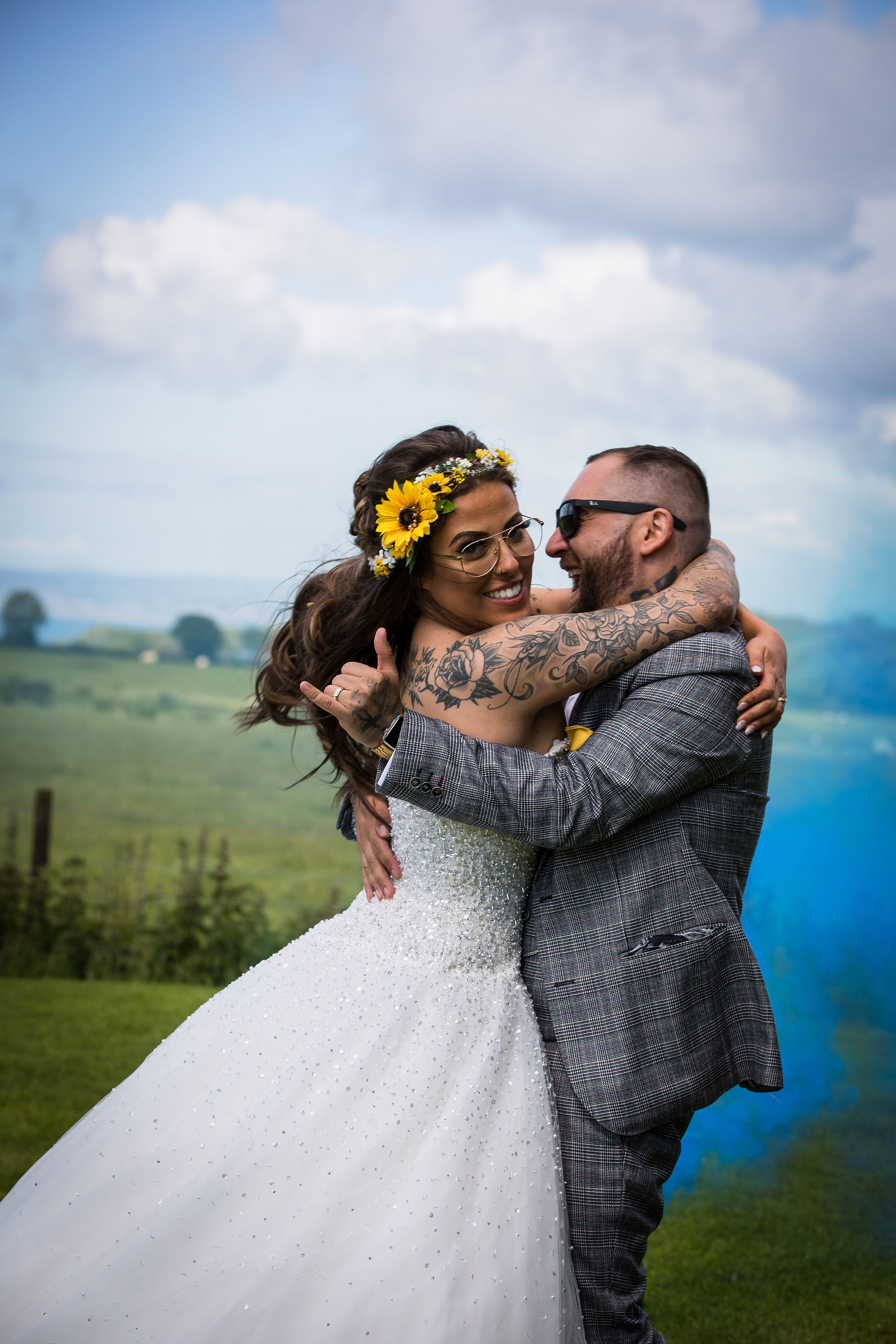 Harriet&Rhys Wedding - Magical sunflower wedding - quirky wedding with dodgems (29)