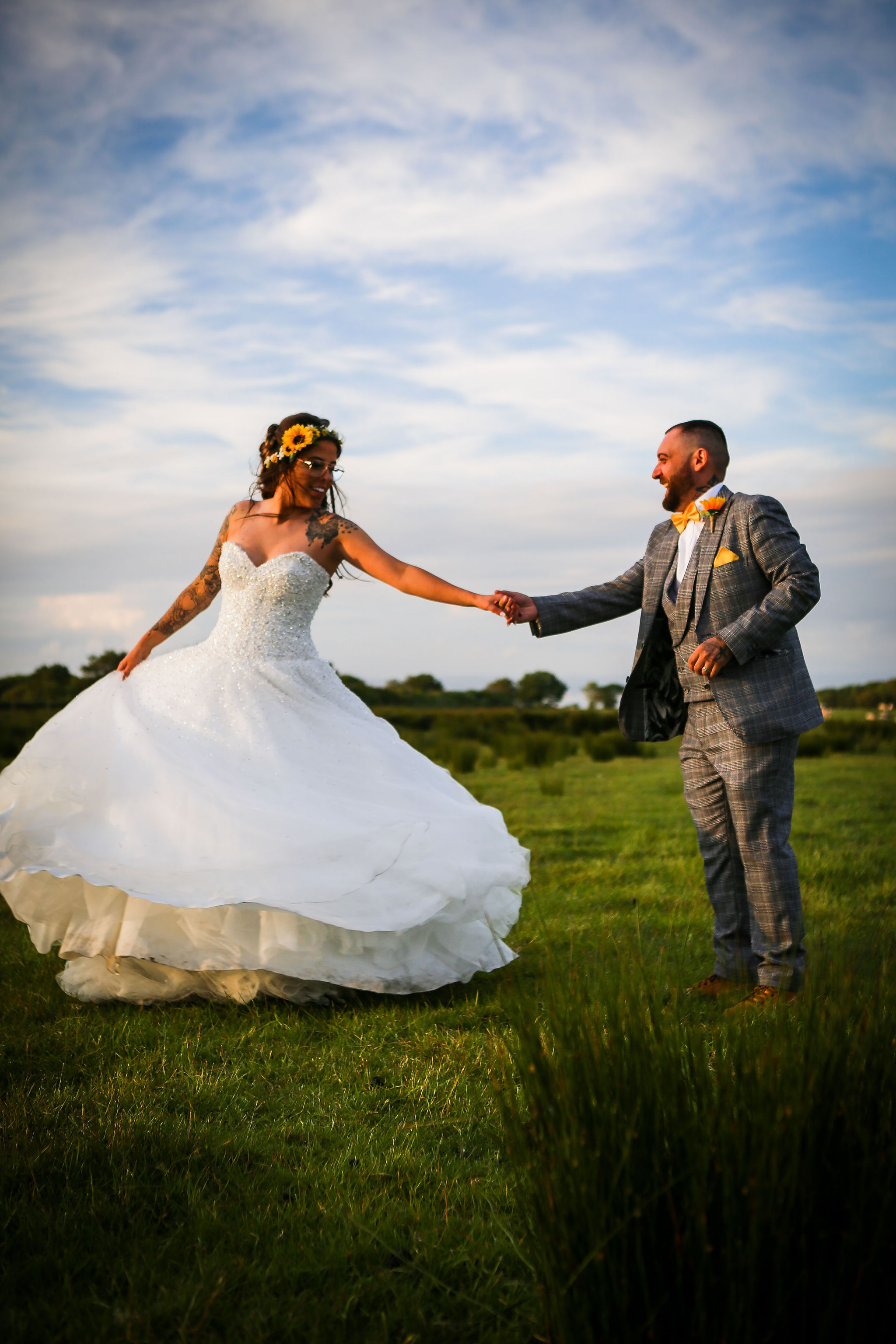 Harriet&Rhys Wedding - Magical sunflower wedding - bride and groom