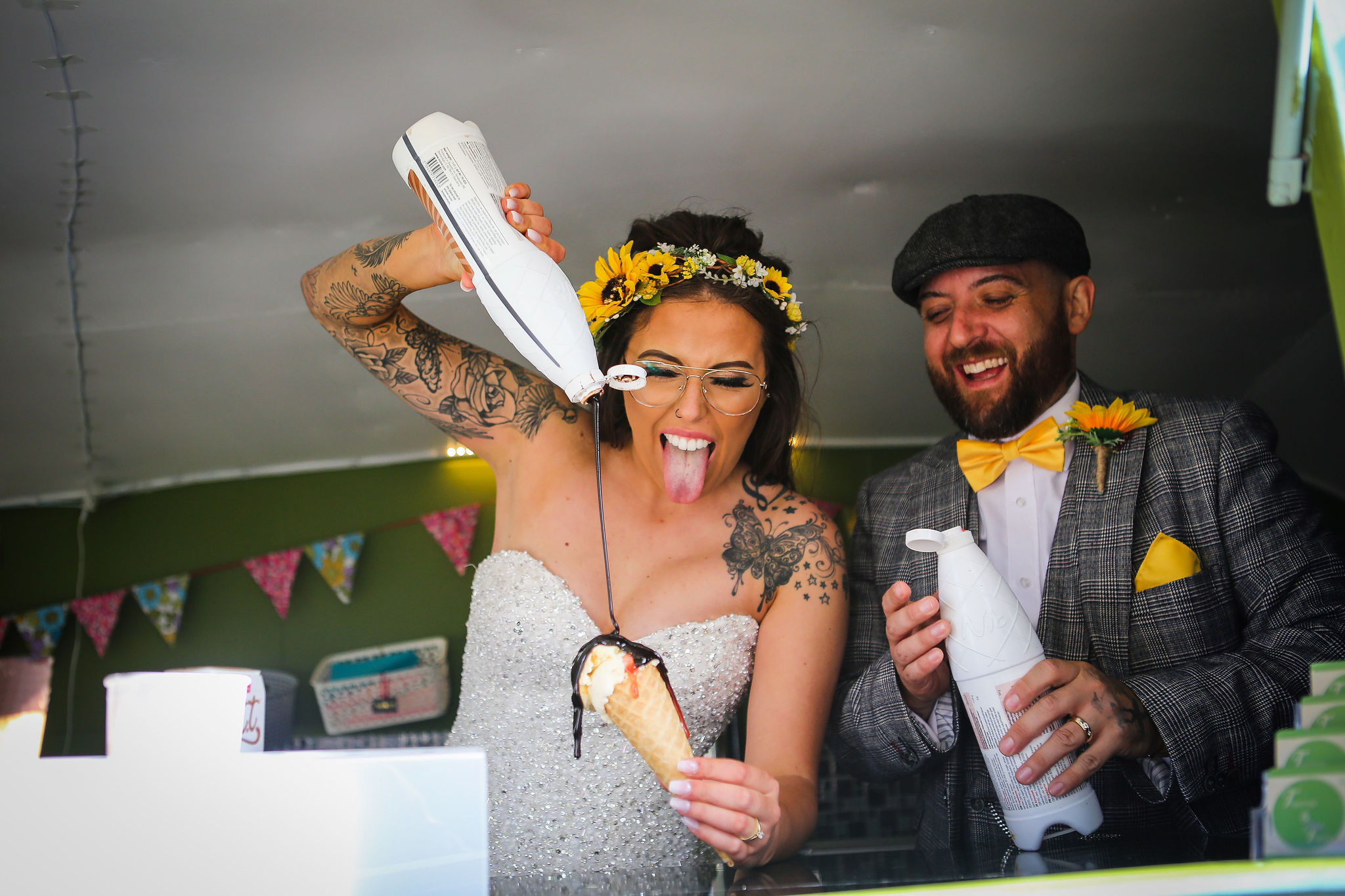 Harriet&Rhys Wedding - Magical sunflower wedding - quirky wedding with ice cream van - bride and groom in ice cream van