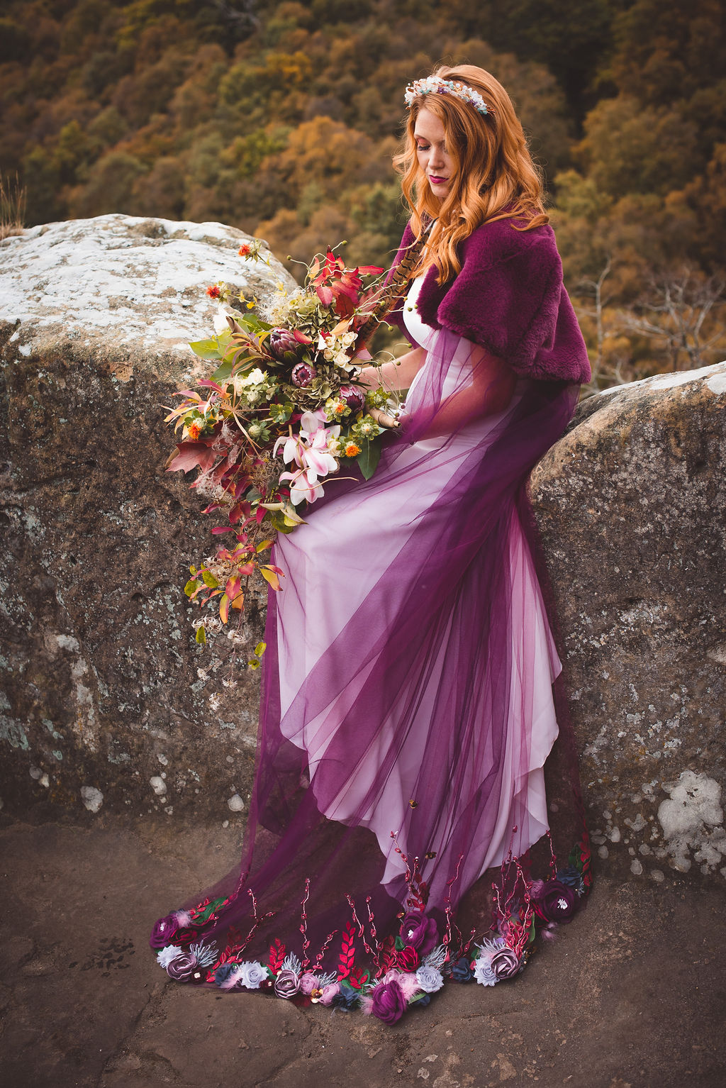 Autumn Wedding, Fantasy Wedding, Winter Wedding, Unconventional Wedding, Alternative Wedding, Alternative Wedding Dress- Bridal Cape- Unique Wedding Ideas